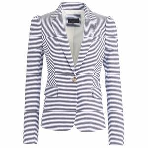 J.Crew Seersucker Puff Sleeve Stripe Cotton Blazer